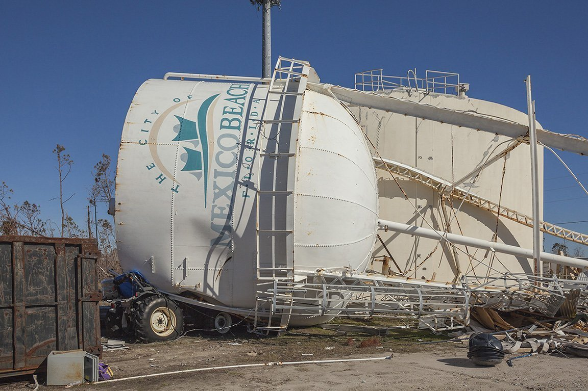 City Water Tower after Hurricane Michael, Mexico Beach, FL 2018 Elevation 7 Feet N 29.94585 W 85.41014