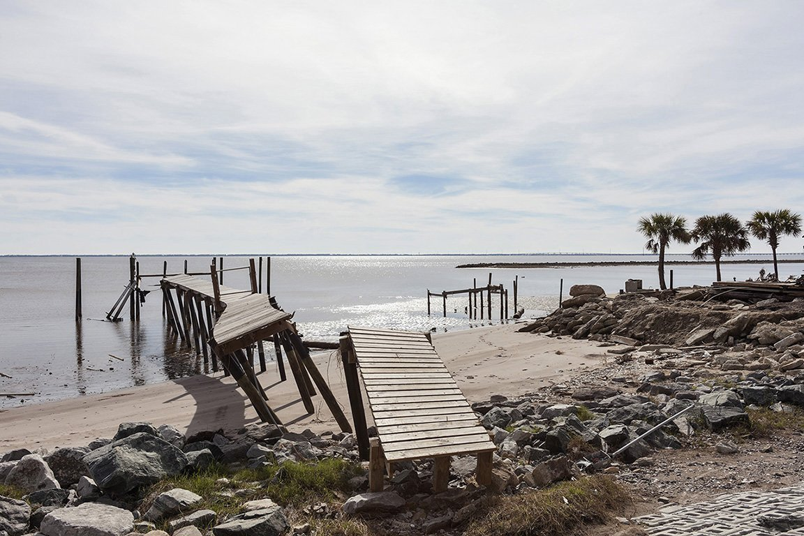 Dock Damaged by Hurricane Michael, Eastpoint Florida, 2018. Elevation Zero Feet. N29.74365 W 84.86596.