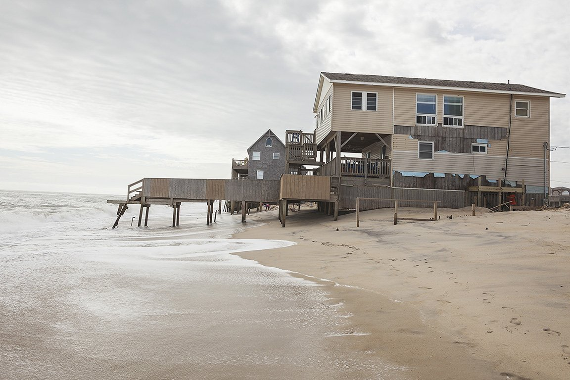 Beach House under Threat and Damaged by Hurricane Dorian, Rodanthe, Outer Banks North Carolina 2019. Elevation Three Feet. N 35.58337 W 75.46154