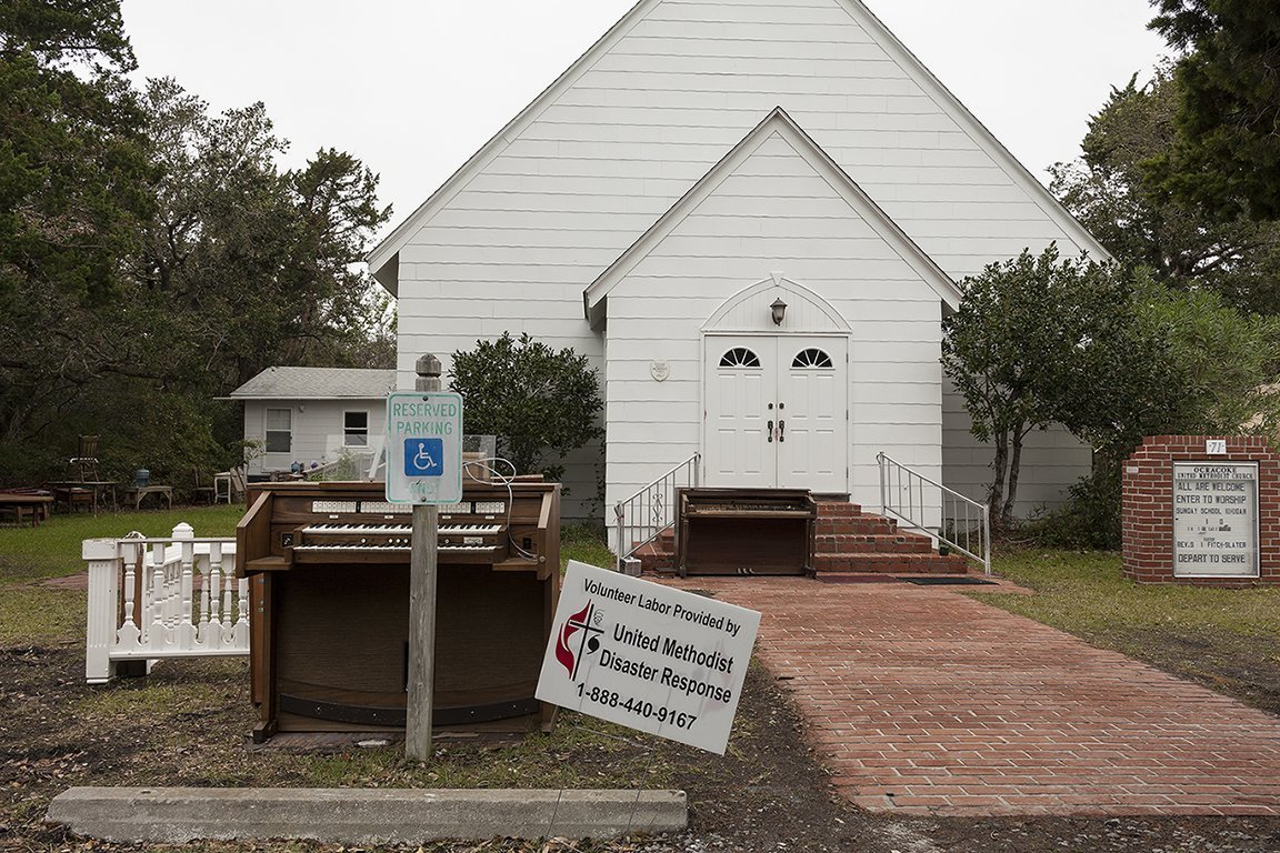 Ocracoke Methodist Church Flooded by Hurricane Dorian, Ocracoke, North Carolina, 2019 	Elevation Three Feet. N 35.10657 W 75.97919