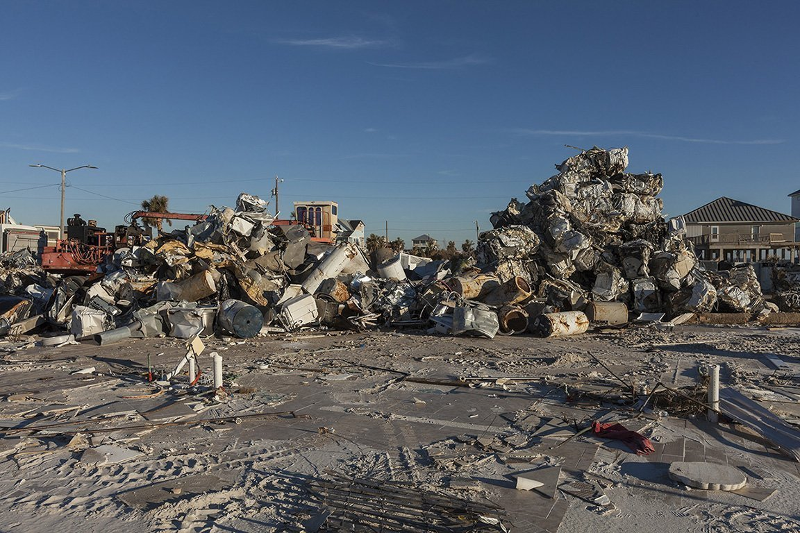 Cubes of Crushed Appliances and Metal Mexico Beach, FL 2018 Elevation 10 Feet N 29.95002 W 85.4241