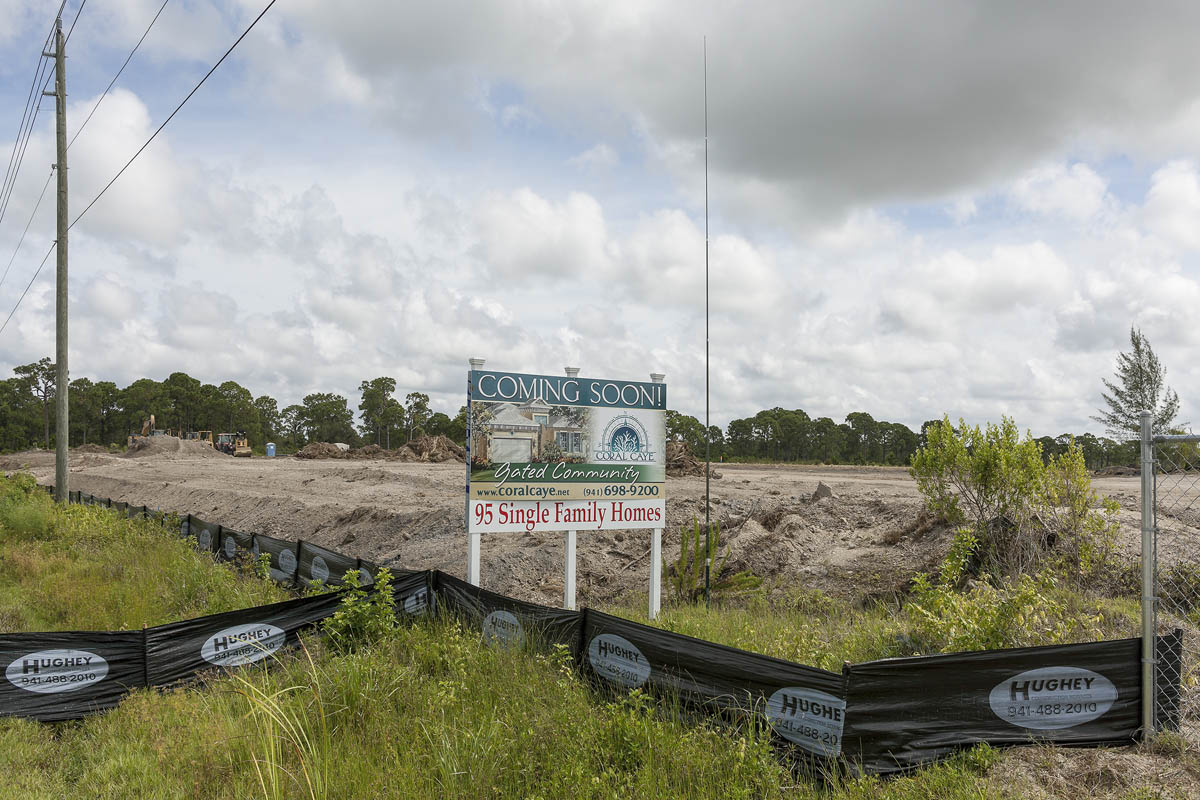 Entrance to Coral Caye Development, Future Site of Ninety-five Homes, Cape Haze, Florida, 2014.