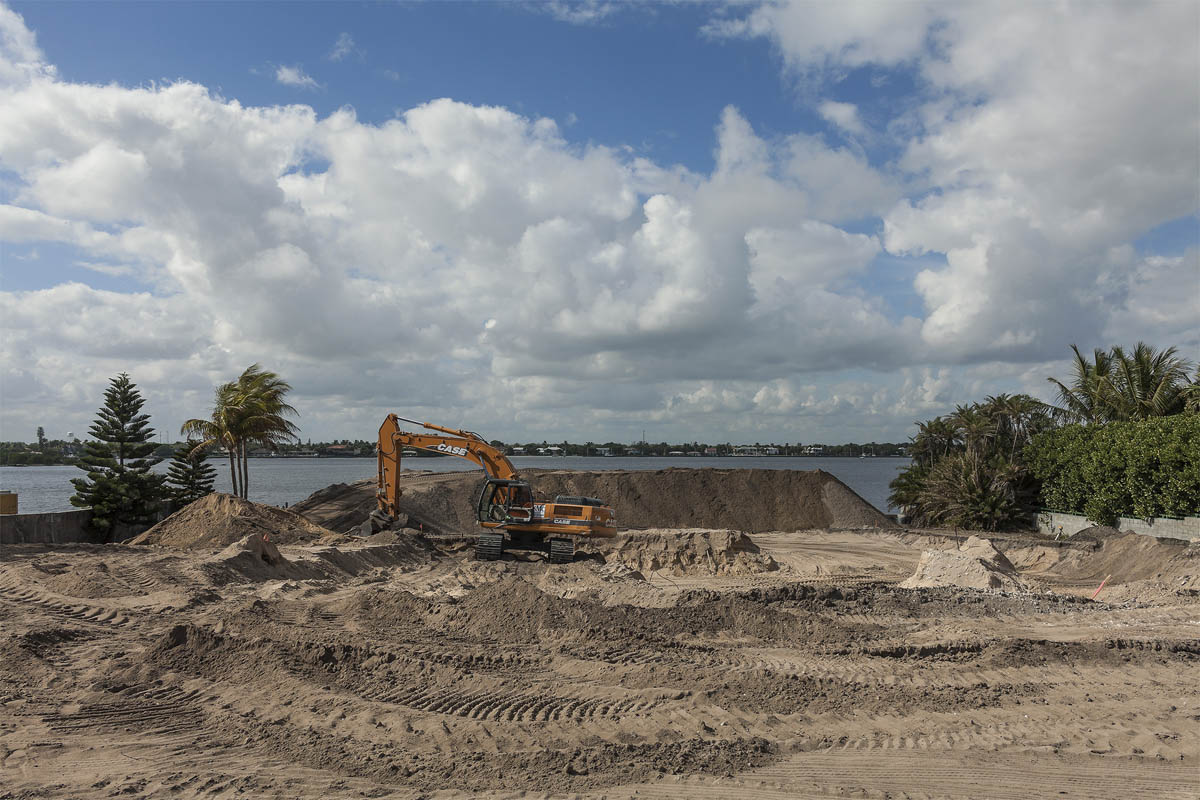 Construction Site for a New Mansion, South Ocean Boulevard (FL A1A), Palm Beach, Florida, 2014.