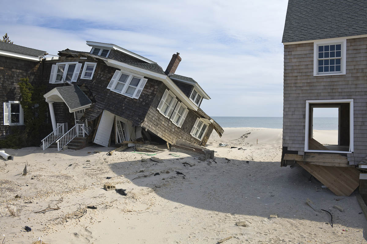Beach Houses after Hurricane Sandy, 959 East Avenue, Mantoloking, New Jersey, March 2013. Elevation Nine Feet. N 40.05418 W 74.04623.