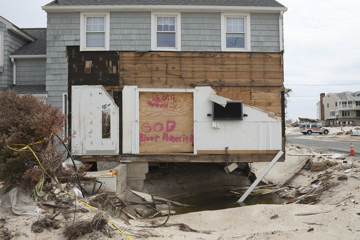 Ocean Avenue at Stephens Place after Hurricane Sandy, Mantoloking, New Jersey, 2013.  Elevation Three Feet. N 40.05249 W 74.04761.
