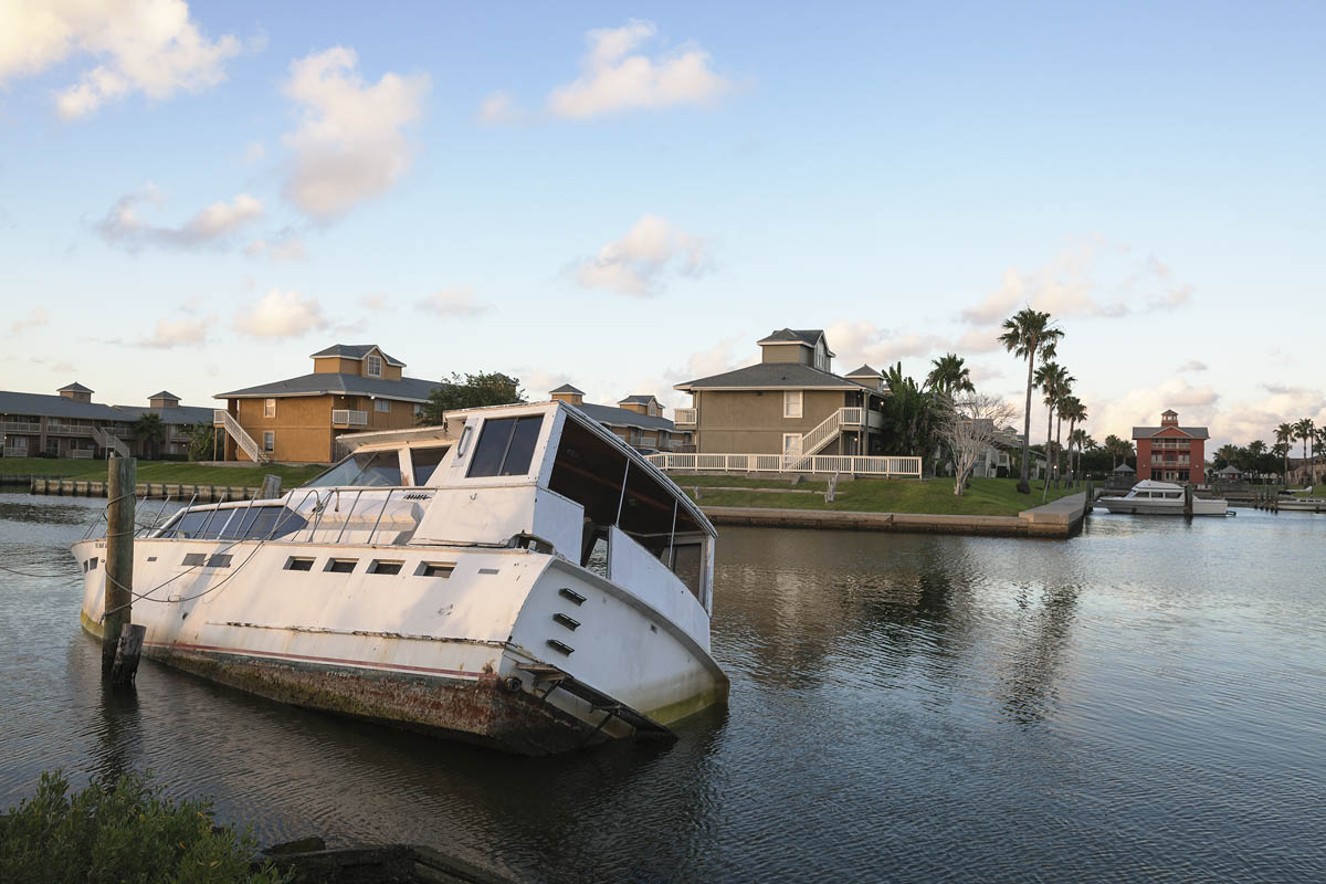 Abandoned Yacht, Jones Drive, Galveston, Texas, 2014. Elevation One Foot. N 29.26979 W 94.84696.