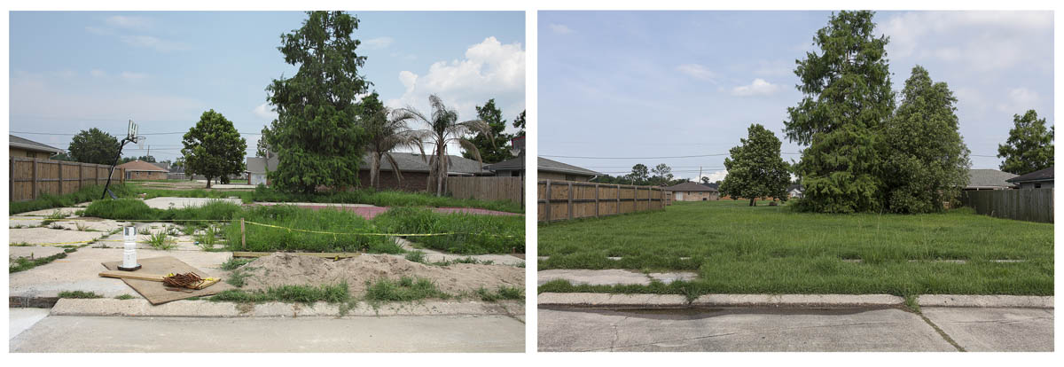 Missing House and Improvised Basketball Court Removed, Blanchard Drive, Chalmette, 	 New Orleans, Louisiana, June 2010 and June 2014.  Elevation One Foot. N 29.94676 W 89.94012.
