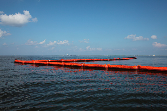 BP Oil on Booms, Barataria Bay near Queen Bess Island, Grand Isle, Louisiana 2010
