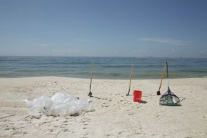 Bags of Contaminated Sand and clean-up tools, Gulf Shores, Alabama, 2010