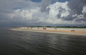 Grand Isle St Park from fishing Pier closed for BP clean-up, 2010